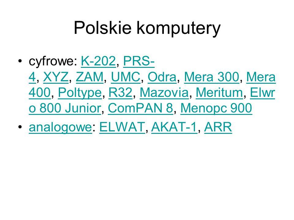 Polskie komputery cyfrowe: K-202, PRS- 4, XYZ, ZAM, UMC, Odra, Mera 300, Mera 400, Poltype, R32, Mazovia, Meritum, Elwr o 800 Junior, ComPAN 8, Menopc