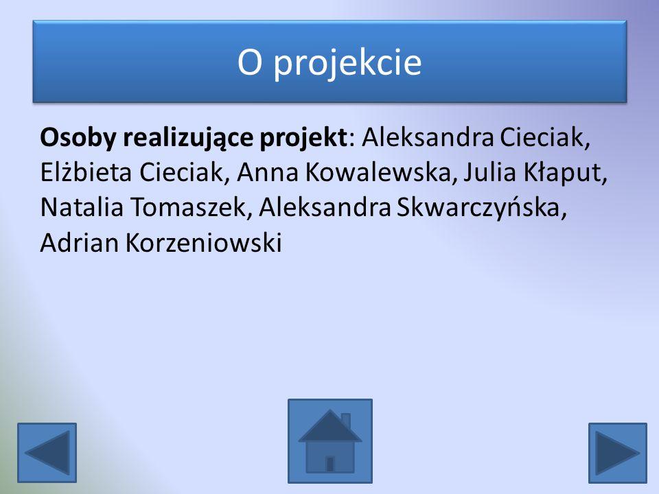 O projekcie Osoby realizujące projekt: Aleksandra Cieciak, Elżbieta Cieciak, Anna Kowalewska, Julia Kłaput, Natalia Tomaszek, Aleksandra Skwarczyńska,