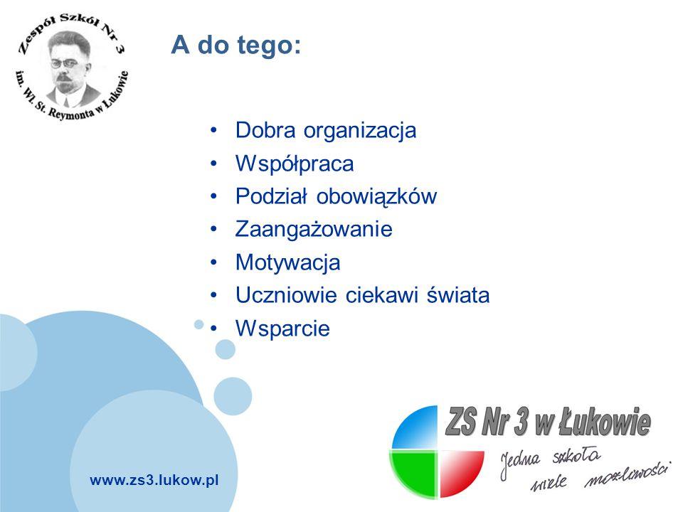 www.zs3.lukow.pl Company LOGO A do tego: Dobra organizacja Współpraca Podział obowiązków Zaangażowanie Motywacja Uczniowie ciekawi świata Wsparcie