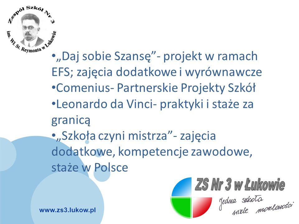"""www.zs3.lukow.pl Company LOGO """"Daj sobie Szansę""""- projekt w ramach EFS; zajęcia dodatkowe i wyrównawcze Comenius- Partnerskie Projekty Szkół Leonardo"""