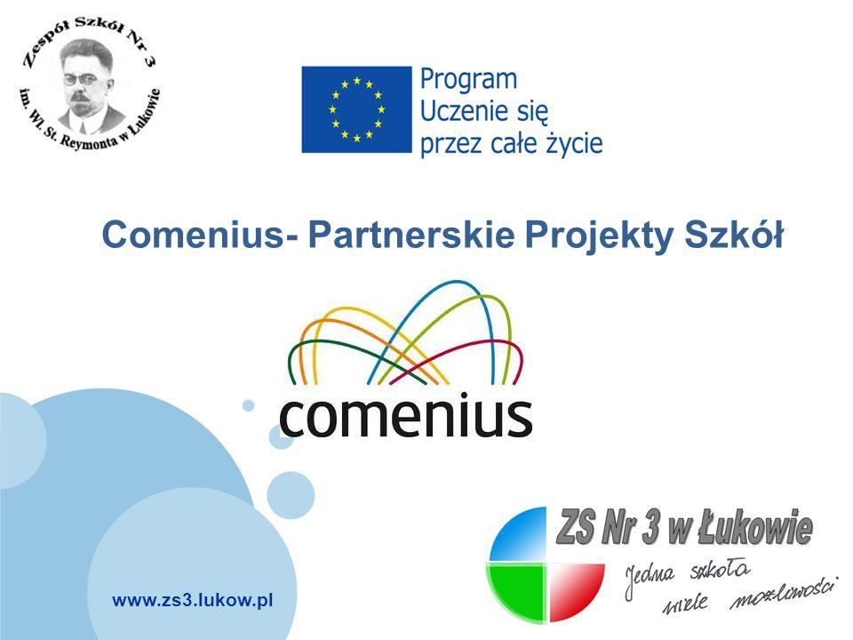 www.zs3.lukow.pl Company LOGO Cele projektu: wzmacnianie europejskiego wymiaru edukacji poprzez promowanie współpracy międzynarodowej poprawa pod względem jakościowym i ilościowym partnerstw między szkołami oraz mobilności