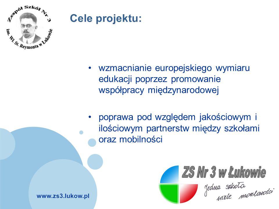 www.zs3.lukow.pl Company LOGO Cele projektu: wzmacnianie europejskiego wymiaru edukacji poprzez promowanie współpracy międzynarodowej poprawa pod wzgl