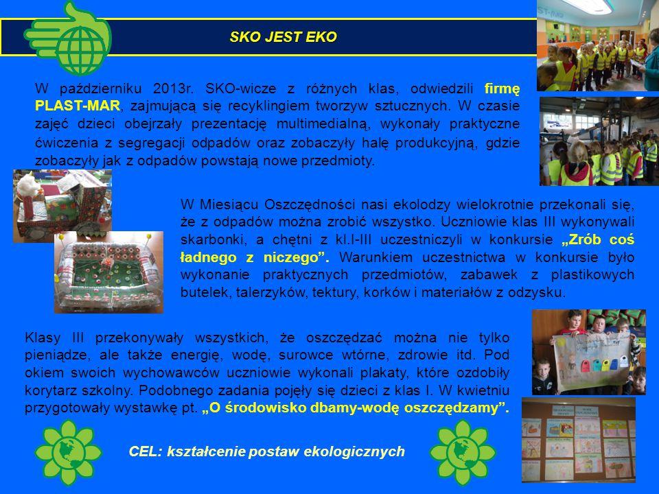 SKO JEST EKO W październiku 2013r. SKO-wicze z różnych klas, odwiedzili firmę PLAST-MAR, zajmującą się recyklingiem tworzyw sztucznych. W czasie zajęć