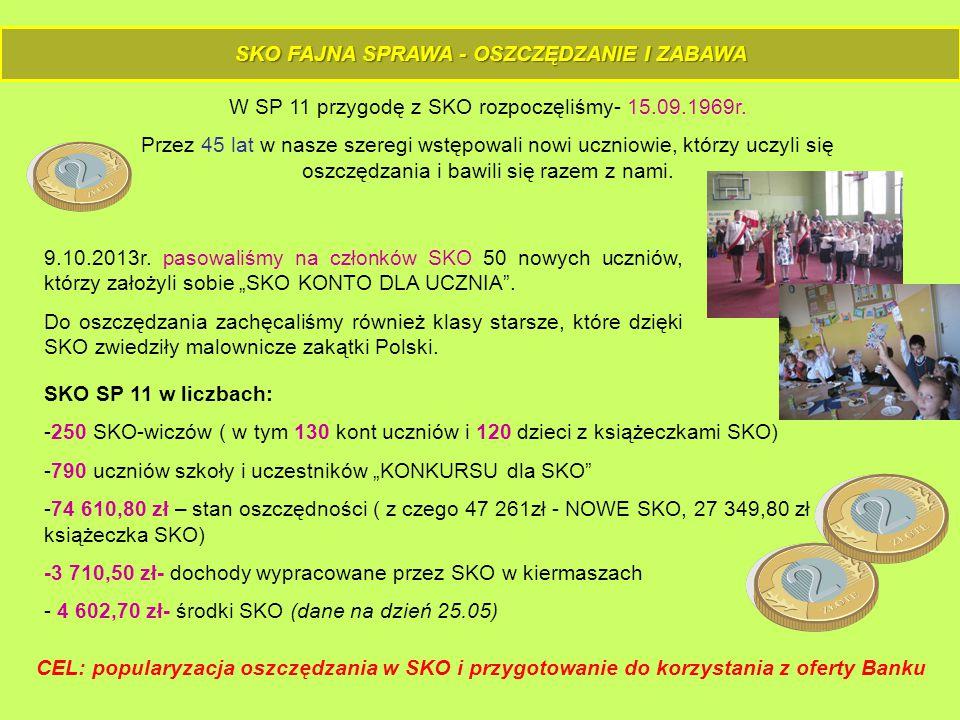 SKO FAJNA SPRAWA - OSZCZĘDZANIE I ZABAWA W SP 11 przygodę z SKO rozpoczęliśmy- 15.09.1969r.