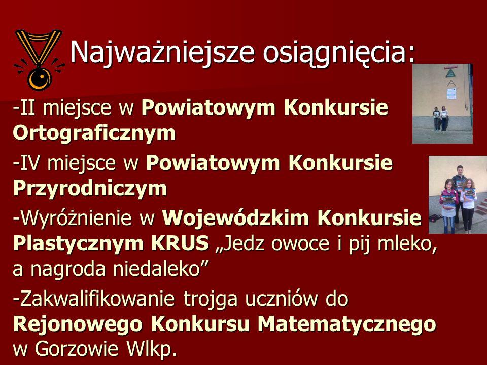 -II miejsce w Powiatowym Konkursie Ortograficznym -IV miejsce w Powiatowym Konkursie Przyrodniczym -Wyróżnienie w Wojewódzkim Konkursie Plastycznym KR