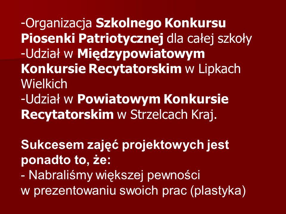 -Organizacja Szkolnego Konkursu Piosenki Patriotycznej dla całej szkoły -Udział w Międzypowiatowym Konkursie Recytatorskim w Lipkach Wielkich -Udział