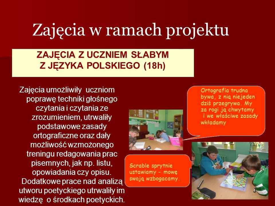 ZAJĘCIA Z UCZNIEM SŁABYM Z JĘZYKA POLSKIEGO (18h) Zajęcia w ramach projektu Zajęcia umożliwiły uczniom poprawę techniki głośnego czytania i czytania z