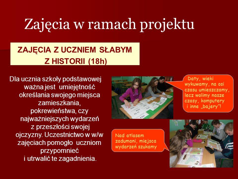 ZAJĘCIA Z UCZNIEM SŁABYM Z HISTORII (18h) Zajęcia w ramach projektu Dla ucznia szkoły podstawowej ważna jest umiejętność określania swojego miejsca za