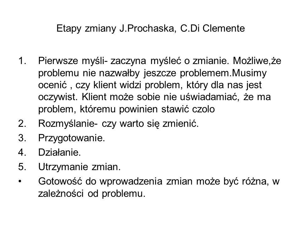 Etapy zmiany J.Prochaska, C.Di Clemente 1.Pierwsze myśli- zaczyna myśleć o zmianie. Możliwe,że problemu nie nazwałby jeszcze problemem.Musimy ocenić,