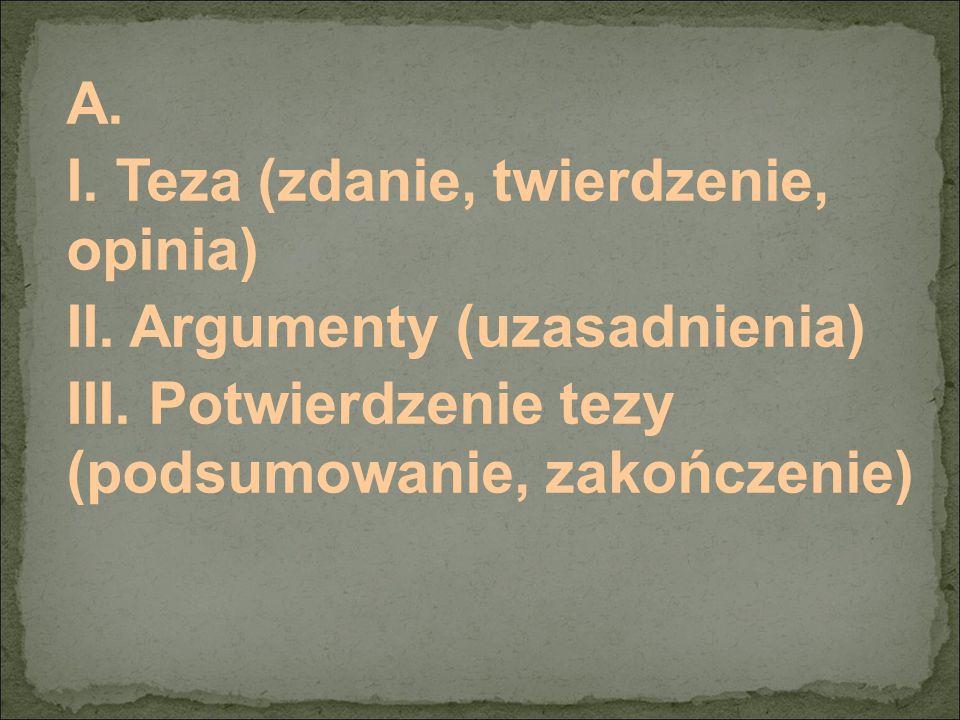 A. I. Teza (zdanie, twierdzenie, opinia) II. Argumenty (uzasadnienia) III. Potwierdzenie tezy (podsumowanie, zakończenie)