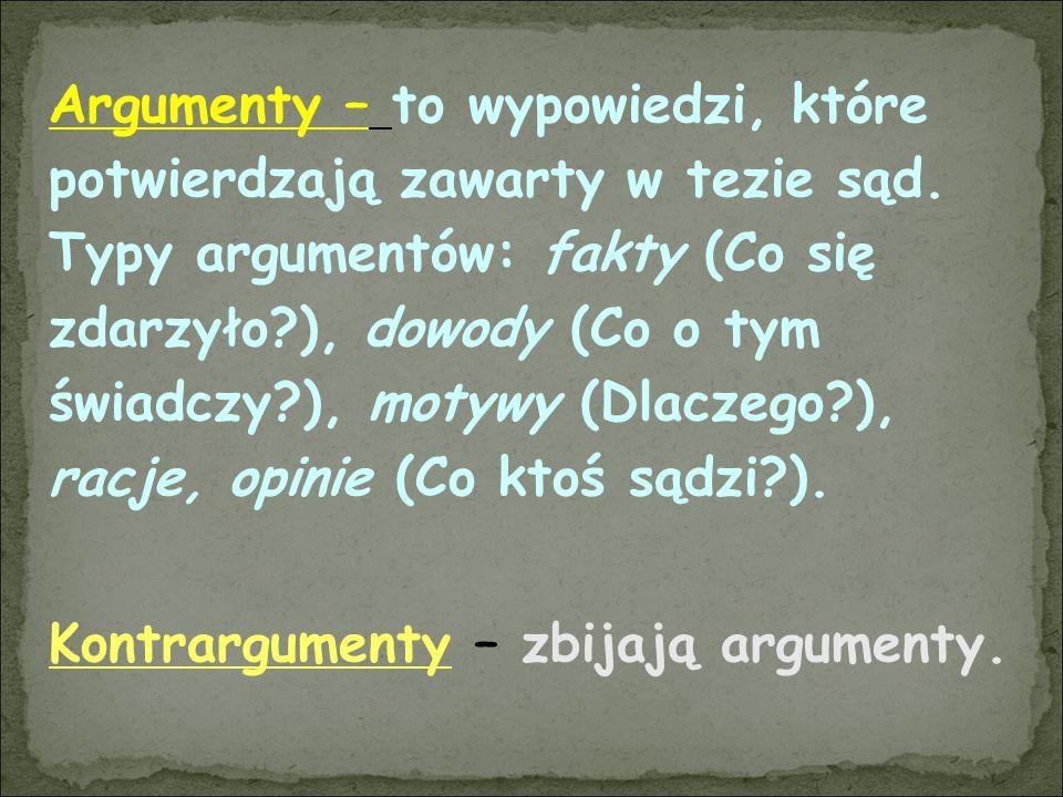 Argumenty – to wypowiedzi, które potwierdzają zawarty w tezie sąd. Typy argumentów: fakty (Co się zdarzyło?), dowody (Co o tym świadczy?), motywy (Dla