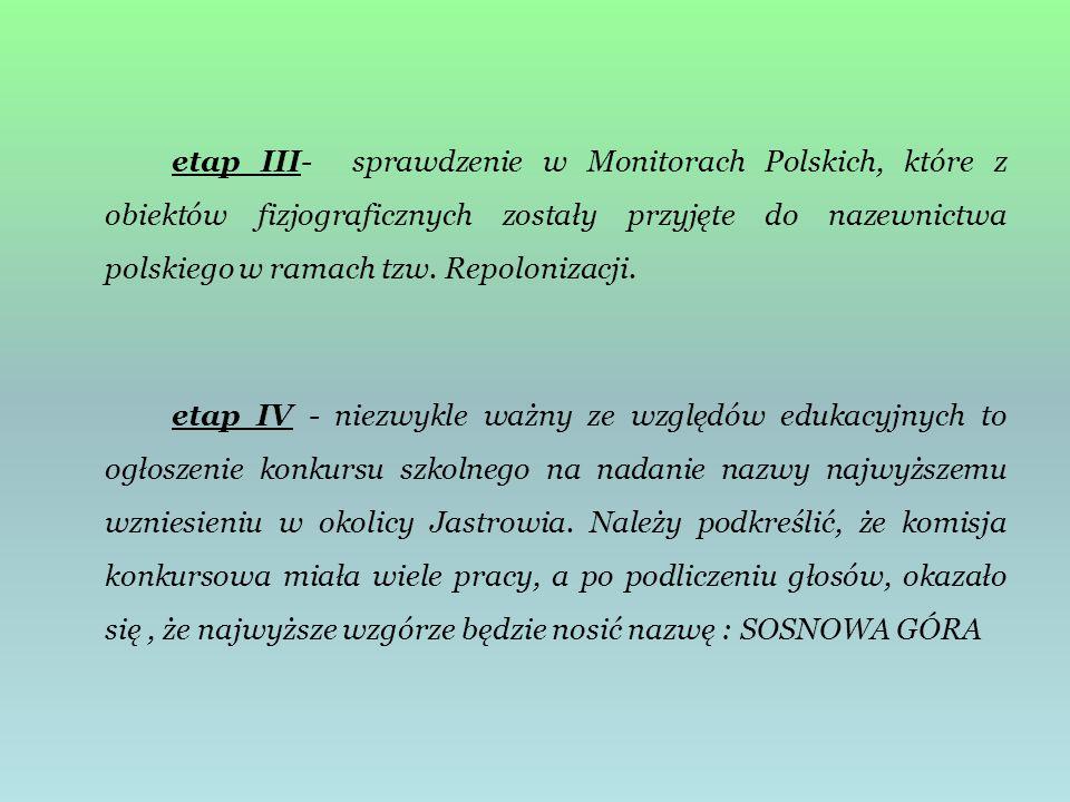 etap III- sprawdzenie w Monitorach Polskich, które z obiektów fizjograficznych zostały przyjęte do nazewnictwa polskiego w ramach tzw. Repolonizacji.