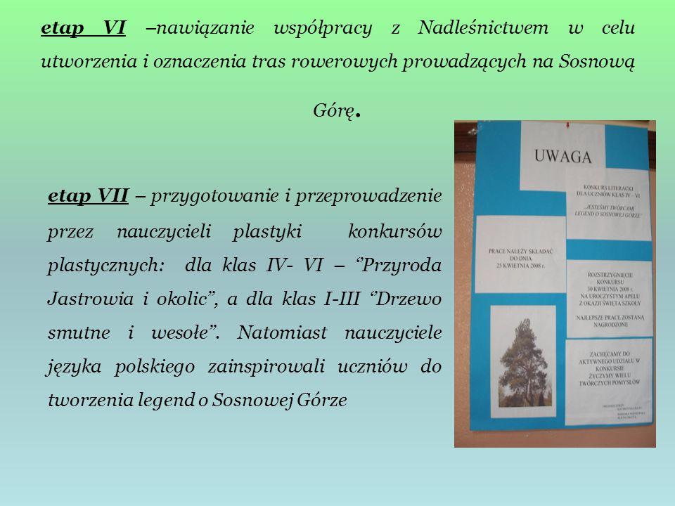 etap VI –nawiązanie współpracy z Nadleśnictwem w celu utworzenia i oznaczenia tras rowerowych prowadzących na Sosnową Górę. etap VII – przygotowanie i