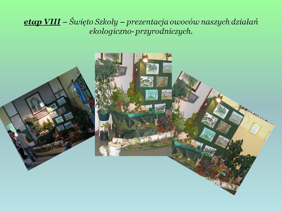 etap VIII – Święto Szkoły – prezentacja owoców naszych działań ekologiczno- przyrodniczych.