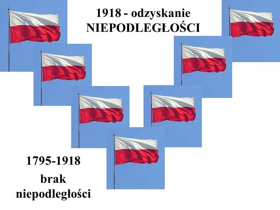 1918 - odzyskanie NIEPODLEGŁOŚCI 1795-1918 brak niepodległości