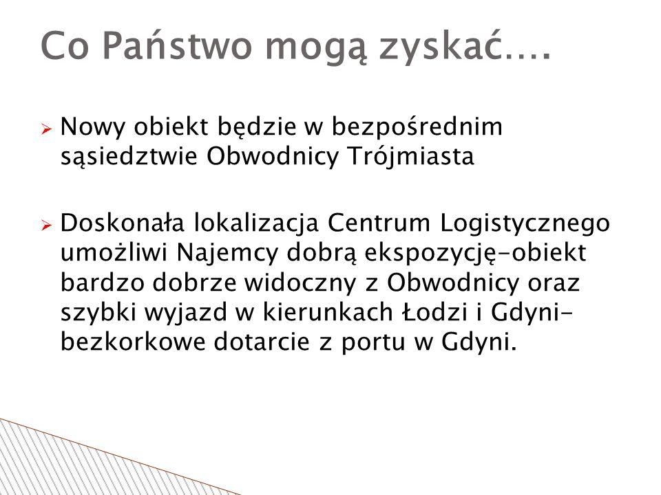  Nowy obiekt będzie w bezpośrednim sąsiedztwie Obwodnicy Trójmiasta  Doskonała lokalizacja Centrum Logistycznego umożliwi Najemcy dobrą ekspozycję-obiekt bardzo dobrze widoczny z Obwodnicy oraz szybki wyjazd w kierunkach Łodzi i Gdyni- bezkorkowe dotarcie z portu w Gdyni.
