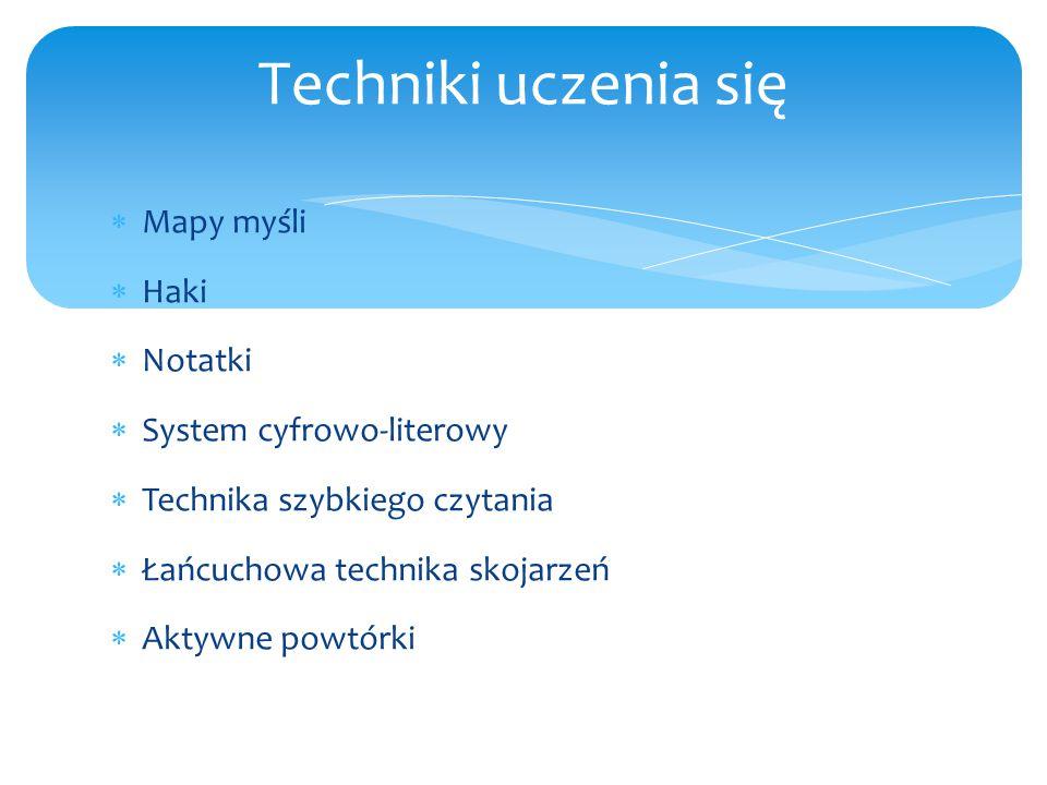  Mapy myśli  Haki  Notatki  System cyfrowo-literowy  Technika szybkiego czytania  Łańcuchowa technika skojarzeń  Aktywne powtórki Techniki ucze