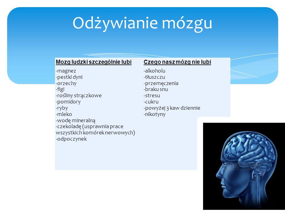 Mozg ludzki szczególnie lubiCzego nasz mózg nie lubi -magnez -pestki dyni -orzechy -figi -rośliny strączkowe -pomidory -ryby -mleko -wodę mineralną -c