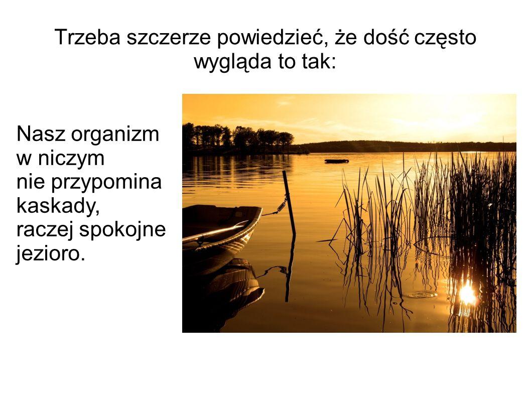 Trzeba szczerze powiedzieć, że dość często wygląda to tak: Nasz organizm w niczym nie przypomina kaskady, raczej spokojne jezioro.
