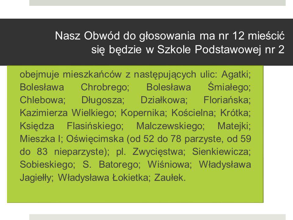 Nasz Obwód do głosowania ma nr 12 mieścić się będzie w Szkole Podstawowej nr 2 obejmuje mieszkańców z następujących ulic: Agatki; Bolesława Chrobrego;