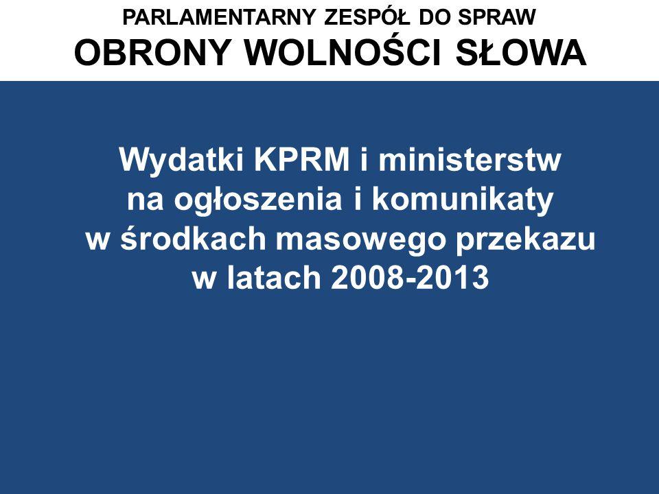 Procentowy podział wydatków na ogłoszenia i komunikaty resortów rządowych w stacjach telewizyjnych w roku 2013 PARLAMENTARNY ZESPÓŁ DS.