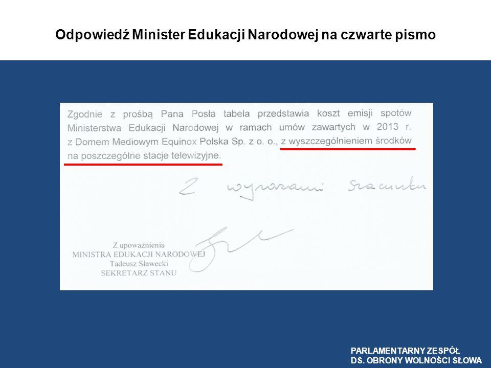 Odpowiedź Minister Edukacji Narodowej na czwarte pismo PARLAMENTARNY ZESPÓŁ DS. OBRONY WOLNOŚCI SŁOWA