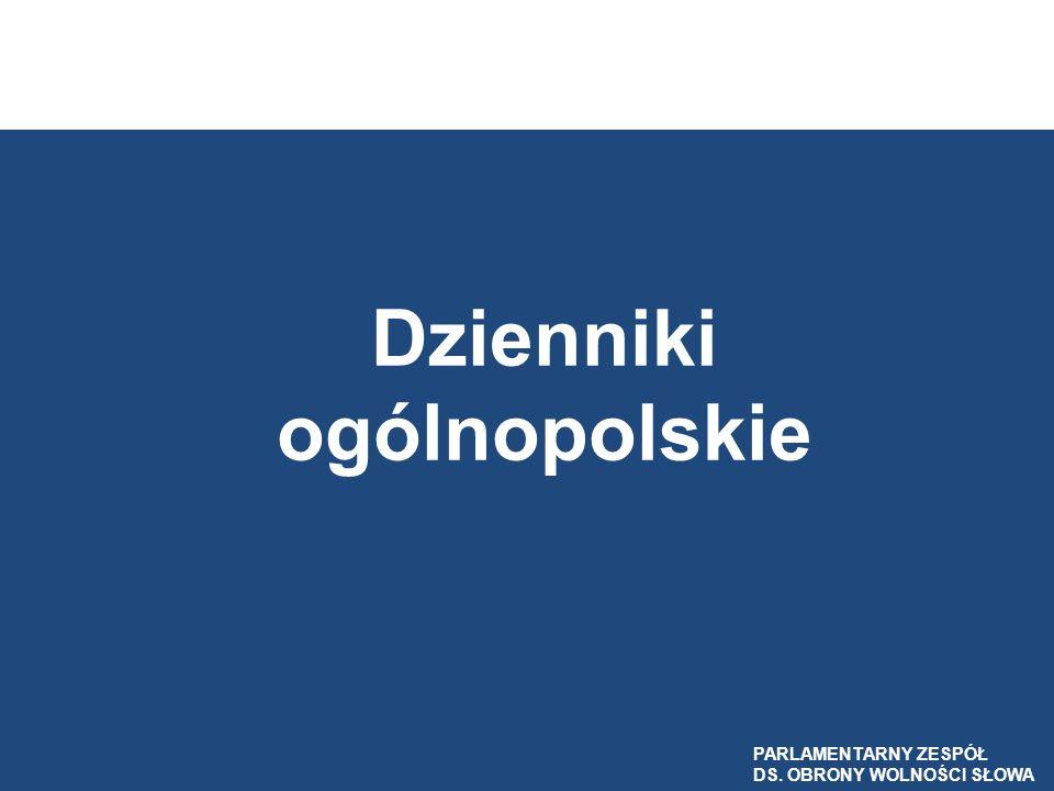 Dzienniki ogólnopolskie PARLAMENTARNY ZESPÓŁ DS. OBRONY WOLNOŚCI SŁOWA