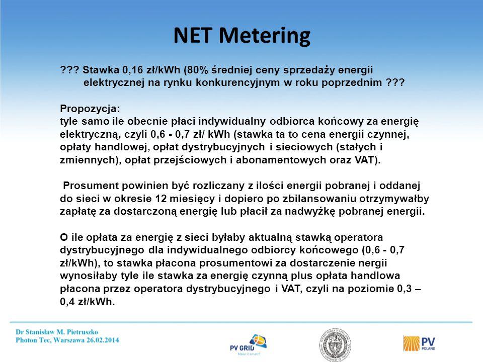 NET Metering ??? Stawka 0,16 zł/kWh (80% średniej ceny sprzedaży energii elektrycznej na rynku konkurencyjnym w roku poprzednim ??? Propozycja: tyle s