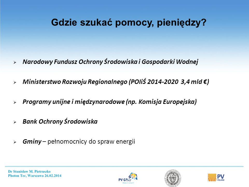 Gdzie szukać pomocy, pieniędzy?  Narodowy Fundusz Ochrony Środowiska i Gospodarki Wodnej  Ministerstwo Rozwoju Regionalnego (POIiŚ 2014-2020 3,4 mld
