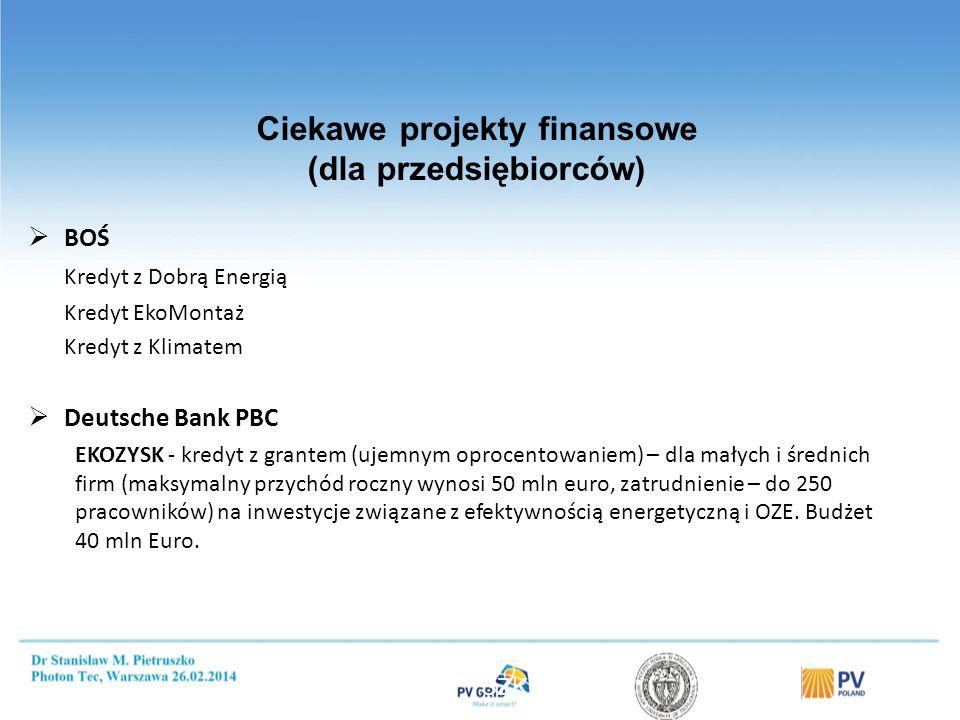 Ciekawe projekty finansowe (dla przedsiębiorców)  BOŚ Kredyt z Dobrą Energią Kredyt EkoMontaż Kredyt z Klimatem  Deutsche Bank PBC EKOZYSK - kredyt