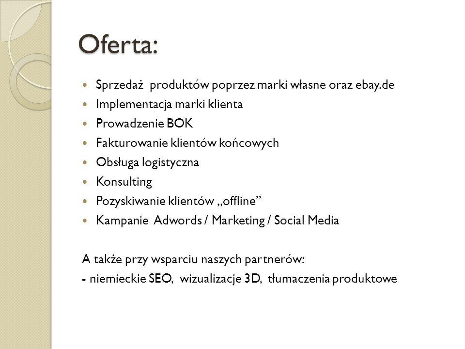 Oferta: Sprzedaż produktów poprzez marki własne oraz ebay.de Implementacja marki klienta Prowadzenie BOK Fakturowanie klientów końcowych Obsługa logis