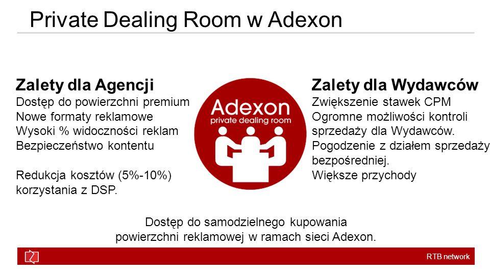 RTB network Private Dealing Room w Adexon Dostęp do samodzielnego kupowania powierzchni reklamowej w ramach sieci Adexon.
