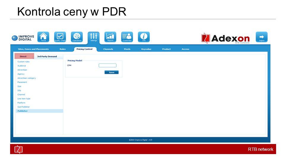 RTB network Kontrola ceny w PDR
