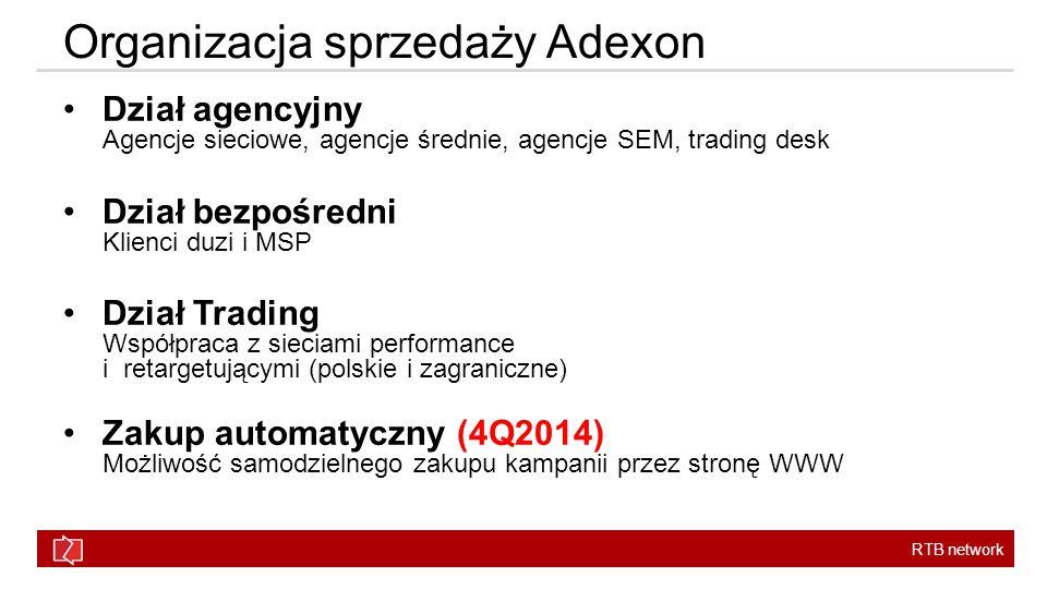 RTB network Organizacja sprzedaży Adexon Dział agencyjny Agencje sieciowe, agencje średnie, agencje SEM, trading desk Dział bezpośredni Klienci duzi i MSP Dział Trading Współpraca z sieciami performance i retargetującymi (polskie i zagraniczne) Zakup automatyczny (4Q2014) Możliwość samodzielnego zakupu kampanii przez stronę WWW