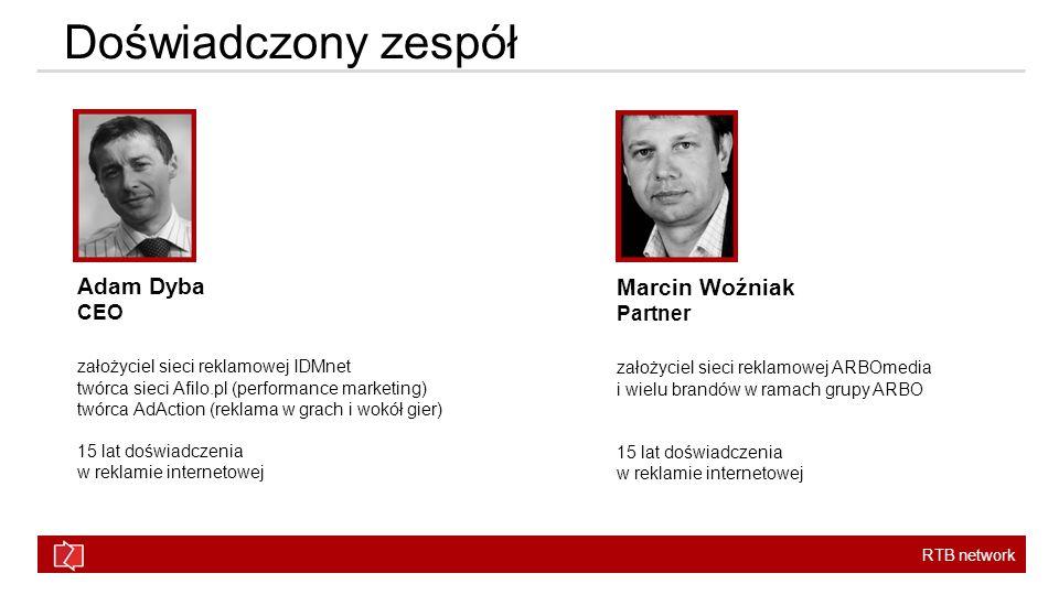 RTB network Doświadczony zespół Adam Dyba CEO założyciel sieci reklamowej IDMnet twórca sieci Afilo.pl (performance marketing) twórca AdAction (reklama w grach i wokół gier) 15 lat doświadczenia w reklamie internetowej Marcin Woźniak Partner założyciel sieci reklamowej ARBOmedia i wielu brandów w ramach grupy ARBO 15 lat doświadczenia w reklamie internetowej