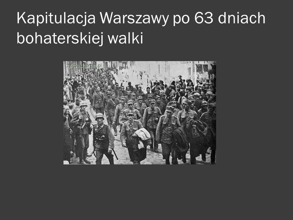 Kapitulacja Warszawy po 63 dniach bohaterskiej walki j l