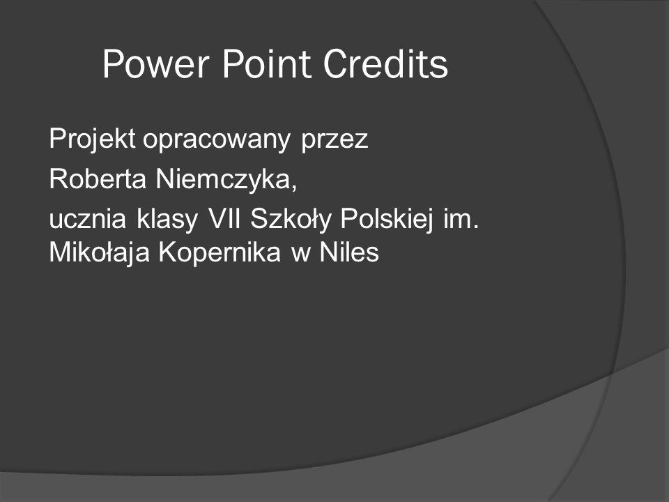 Power Point Credits Projekt opracowany przez Roberta Niemczyka, ucznia klasy VII Szkoły Polskiej im. Mikołaja Kopernika w Niles