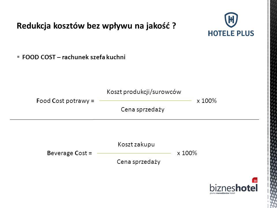  FOOD COST – rachunek szefa kuchni Food Cost potrawy = Koszt produkcji/surowców Cena sprzedaży x 100% Beverage Cost = Koszt zakupu Cena sprzedaży x 1