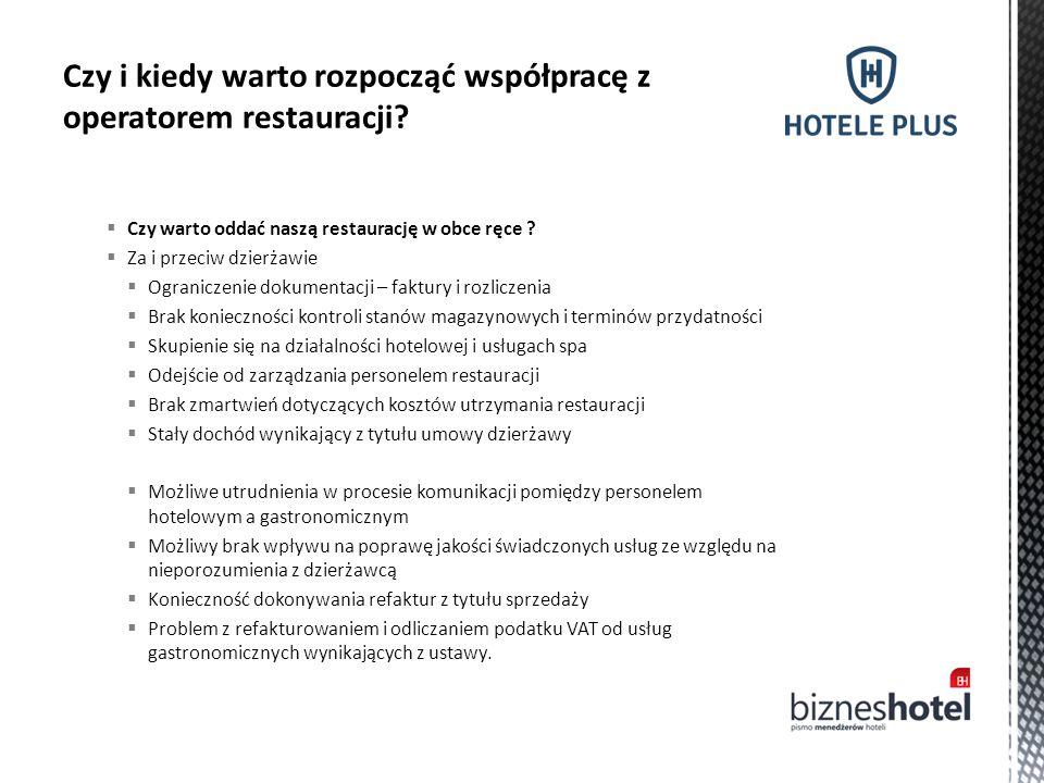  Czy warto oddać naszą restaurację w obce ręce ?  Za i przeciw dzierżawie  Ograniczenie dokumentacji – faktury i rozliczenia  Brak konieczności ko