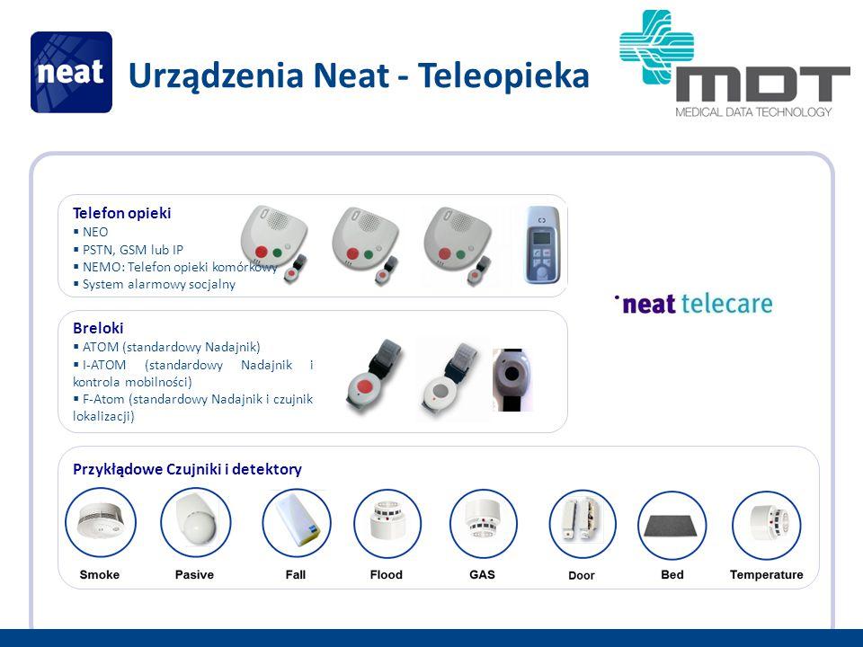 Telefon opieki  NEO  PSTN, GSM lub IP  NEMO: Telefon opieki komórkowy  System alarmowy socjalny Urządzenia Neat - Teleopieka Breloki  ATOM (standardowy Nadajnik)  I-ATOM (standardowy Nadajnik i kontrola mobilności)  F-Atom (standardowy Nadajnik i czujnik lokalizacji) Przykłądowe Czujniki i detektory