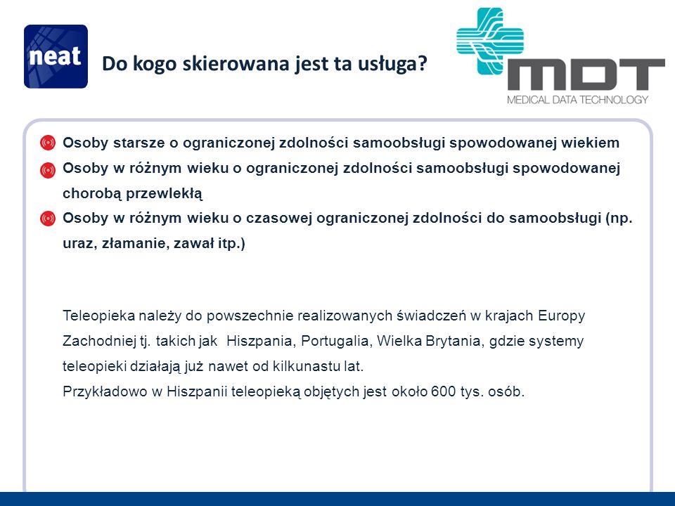 Zakres usług teleopieki: Pakiet usług podstawowych – elementy alarmowe i uruchomienie ustalonych procedur alarmowych w przypadku: a.Zagrożenia zdrowia np.