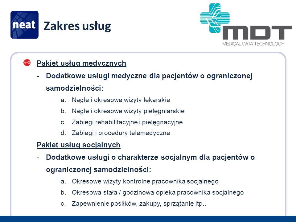 Zakres usług Pakiet usług medycznych -Dodatkowe usługi medyczne dla pacjentów o ograniczonej samodzielności: a.Nagłe i okresowe wizyty lekarskie b.Nagłe i okresowe wizyty pielęgniarskie c.Zabiegi rehabilitacyjne i pielęgnacyjne d.Zabiegi i procedury telemedyczne Pakiet usług socjalnych -Dodatkowe usługi o charakterze socjalnym dla pacjentów o ograniczonej samodzielności: a.Okresowe wizyty kontrolne pracownika socjalnego b.Okresowa stała / godzinowa opieka pracownika socjalnego c.Zapewnienie posiłków, zakupy, sprzątanie itp..