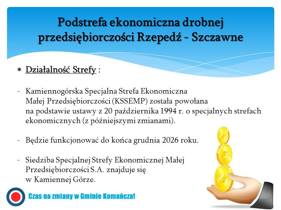  Działalność Strefy  Działalność Strefy : -Kamiennogórska Specjalna Strefa Ekonomiczna Małej Przedsiębiorczości (KSSEMP) została powołana na podstawie ustawy z 20 października 1994 r.