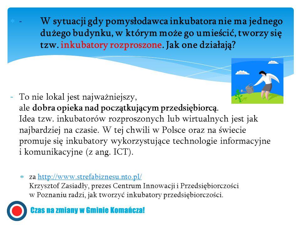  - W sytuacji gdy pomysłodawca inkubatora nie ma jednego dużego budynku, w którym może go umieścić, tworzy się tzw. inkubatory rozproszone. Jak one d