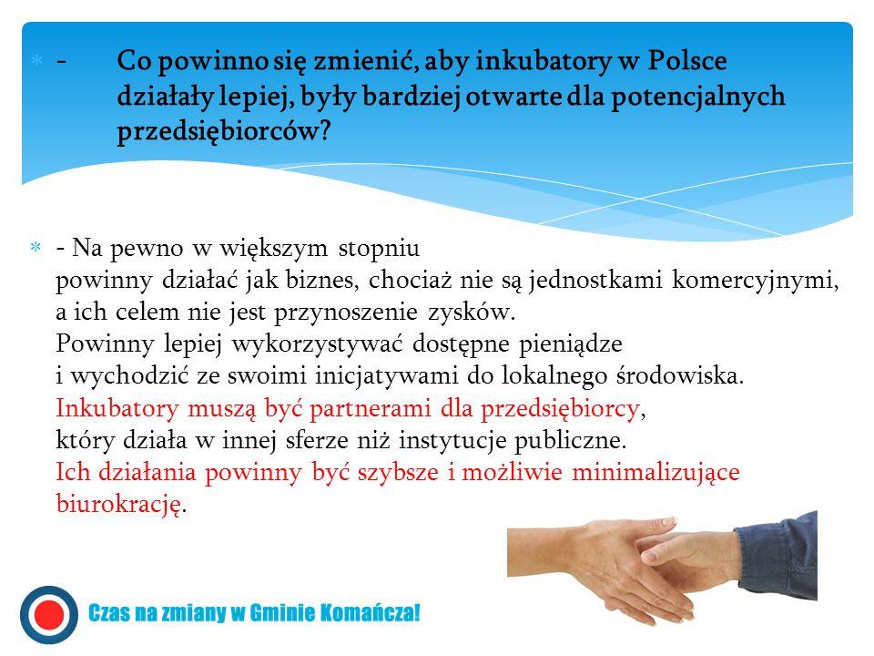  - Co powinno się zmienić, aby inkubatory w Polsce działały lepiej, były bardziej otwarte dla potencjalnych przedsiębiorców?  - Na pewno w większym