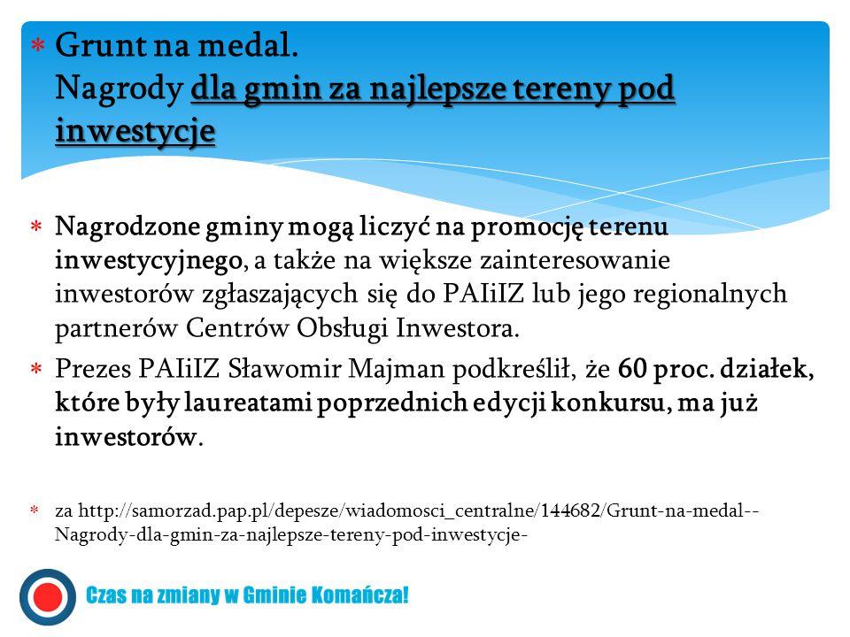 dla gmin za najlepsze tereny pod inwestycje  Grunt na medal.
