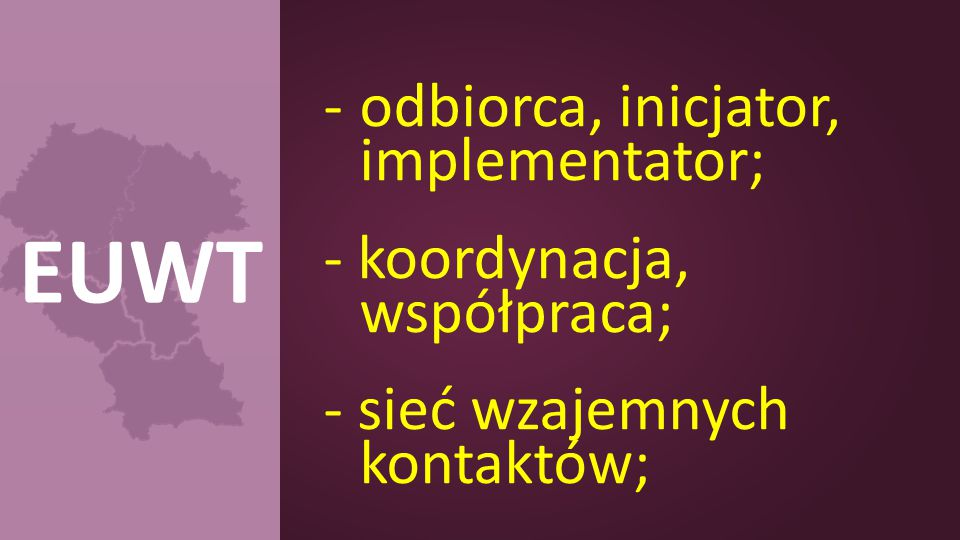 -odbiorca, inicjator, implementator; - koordynacja, współpraca; - sieć wzajemnych kontaktów; EUWT