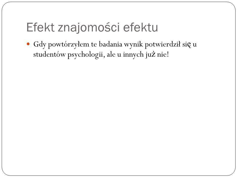 Efekt znajomości efektu Gdy powtórzyłem te badania wynik potwierdził si ę u studentów psychologii, ale u innych ju ż nie!