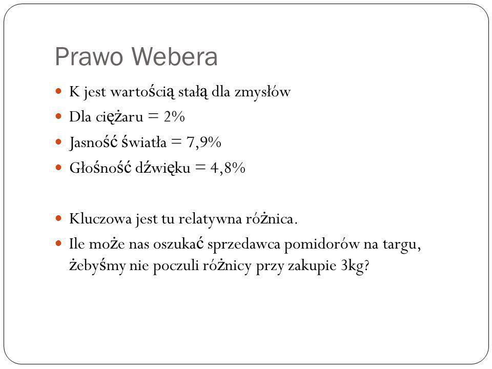 Prawo Webera K jest warto ś ci ą stał ą dla zmysłów Dla ci ęż aru = 2% Jasno ść ś wiatła = 7,9% Gło ś no ść d ź wi ę ku = 4,8% Kluczowa jest tu relatywna ró ż nica.