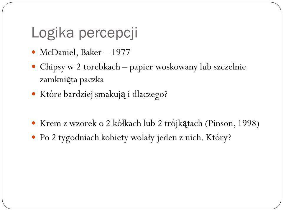 Logika percepcji McDaniel, Baker – 1977 Chipsy w 2 torebkach – papier woskowany lub szczelnie zamkni ę ta paczka Które bardziej smakuj ą i dlaczego? K